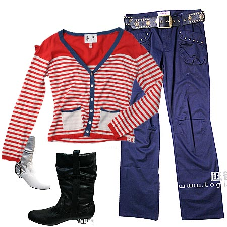 长裤+针织衫的靓丽搭配