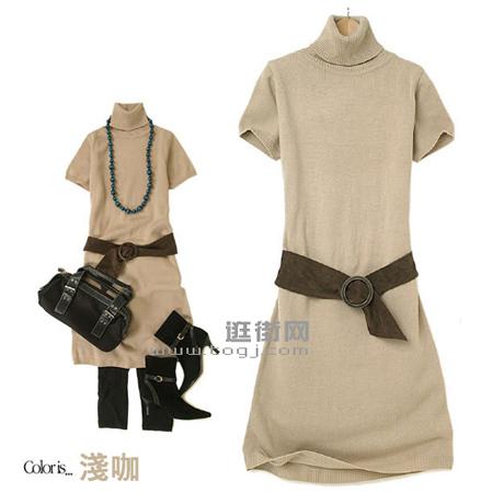 时尚的浅咖色-七款不同颜色的针织长衫