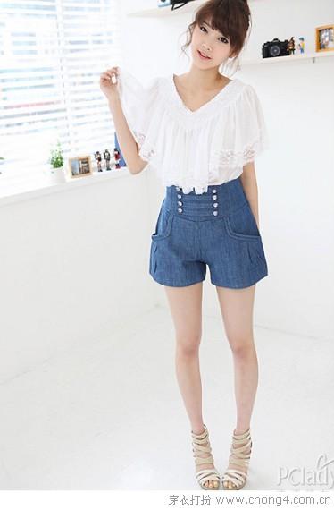 夏日高腰短裤清爽搭 - 冰豆 - 2010穿衣打扮-服装搭配