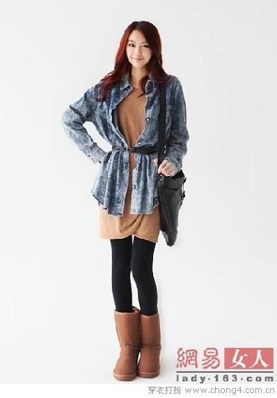 浅棕色短靴搭配_HOT雪地靴让你冬季足下够潮 - 穿衣打扮 - 服饰搭配,美容知识