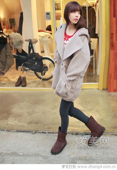 冬季雪地靴搭配示范