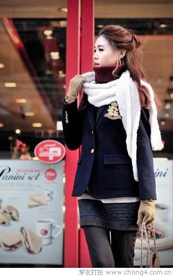 西装和围巾的搭配组合