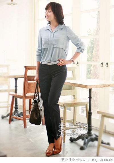 气质西裤诠释OL时尚韵味