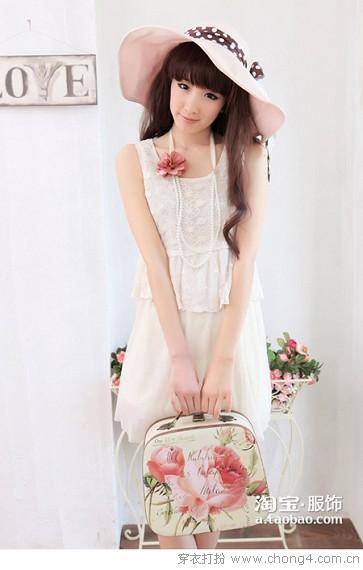 清甜减龄纯色背心裙