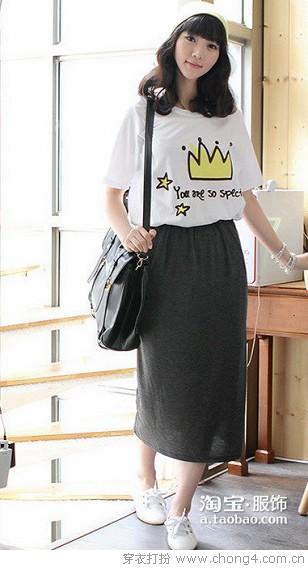 简洁复古风半身长裙