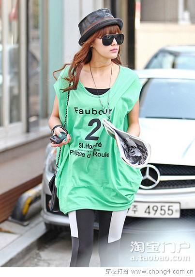 韩国街头风宽松T恤