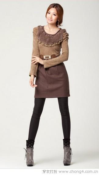 毛呢裙为时尚披一层温暖