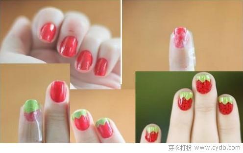 草莓美甲DIY