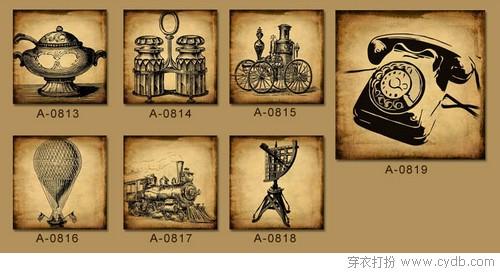 工业复古风格墙绘素材