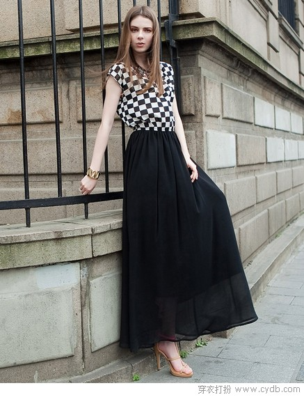 最唯美浪漫是长裙——撞色时尚
