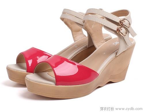 -欧美风果冻色坡跟凉鞋 ←-坡跟鞋 美丽也要稳稳的