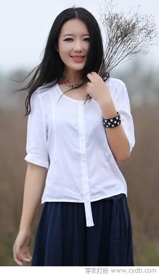 气质范棉麻衫