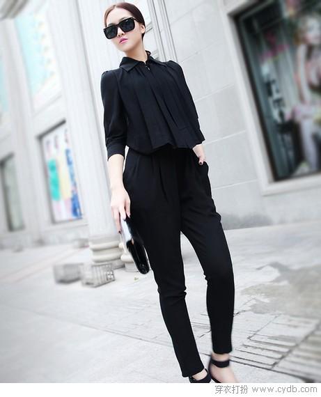 纯色与印花的较量 连体中长裤