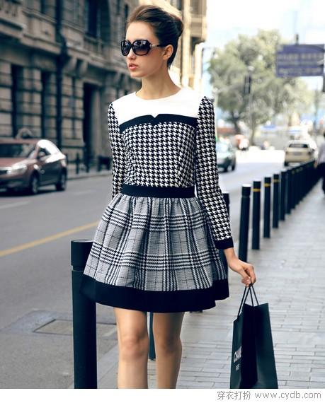 黑与白 连衣裙走气质路线