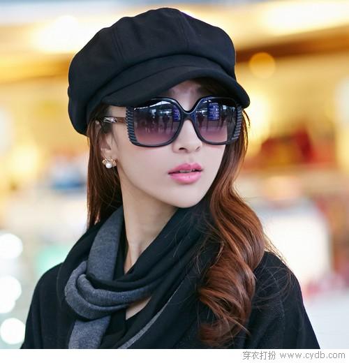 的美女_戴帽子墨镜的美女 图,qq头像女生戴墨镜帽子