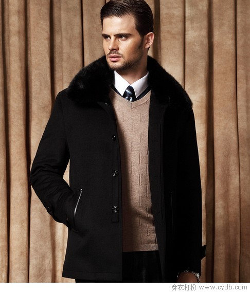 兔毛领中老年男士羊毛大衣