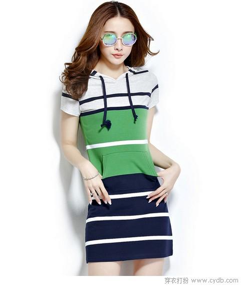 里购买--条纹修身显瘦休闲连衣裙 ←-运动系连衣裙的自白