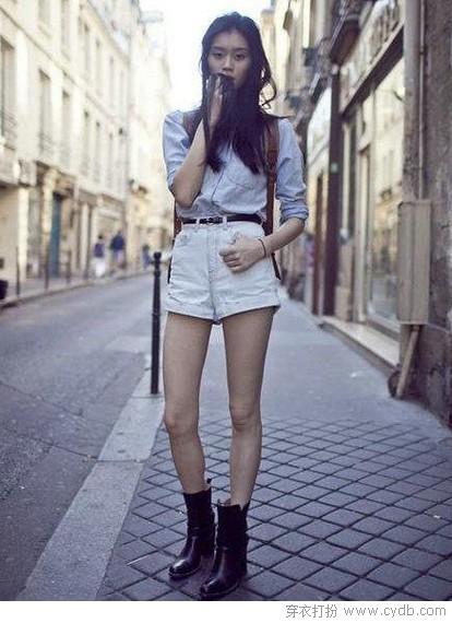 丹宁短裤这样穿最有范儿