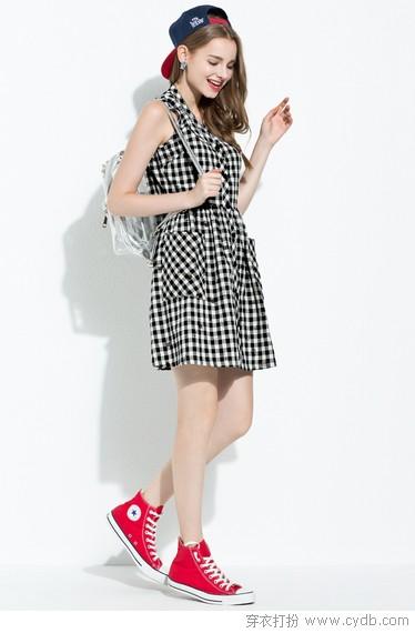 青春阳光格子裙