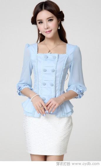 欧式宫廷风格大荷叶翻卷绸缎衬衫