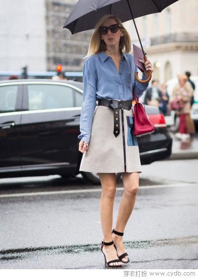 衬衫加半裙,学时尚达人大方美搭
