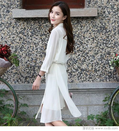 ★衬衫裙配大长腿,瘦身时髦so easy!