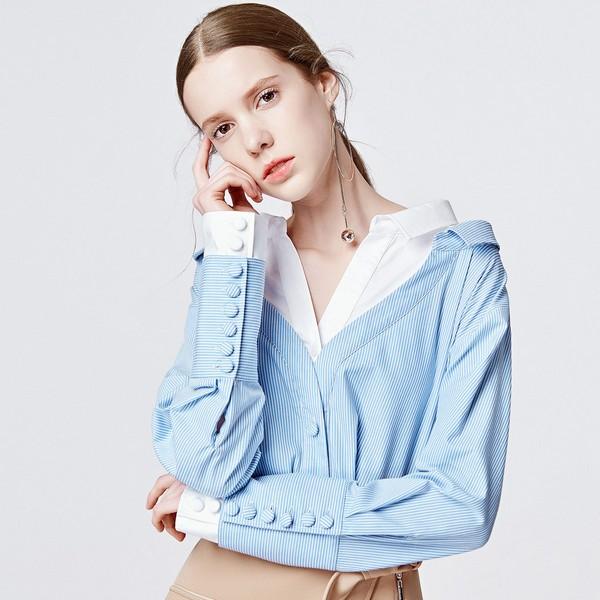 点击这里购买——条纹假两件衬衫
