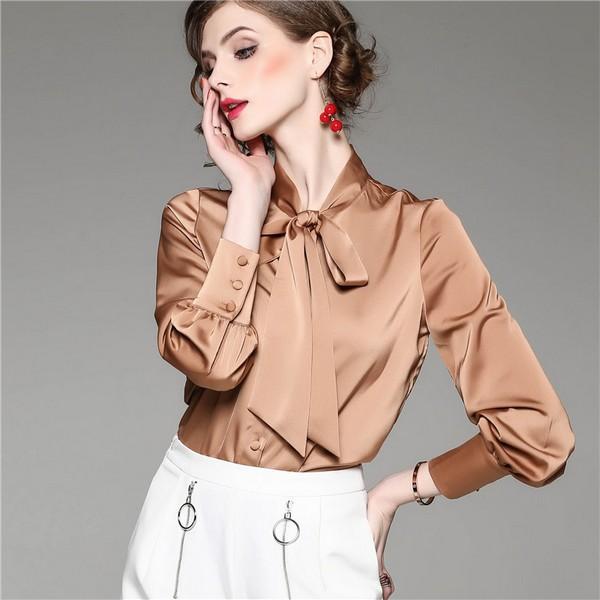 点击这里购买——纯色雪纺系带衬衫