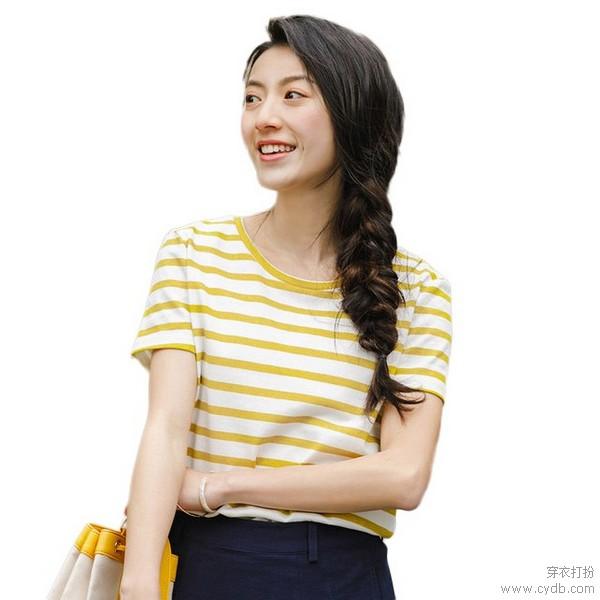 慵懒格调,条纹T恤复刻法式浪漫
