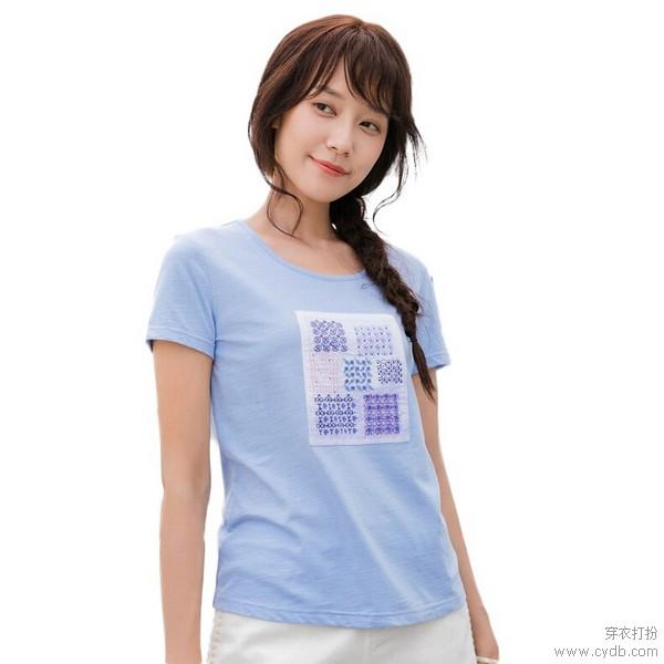 粉嫩婴儿蓝,夏日T恤氤氲冰爽味道